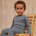 Nui Organics Merino Wool Thermal Crew in Storm - <b>Last one size 6-12M</b>