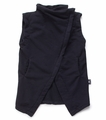 Nununu Asymmetrical Maxi Vest in Black-  <B>Last One Size 12/14Y</b>