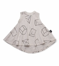 Nununu Geometric 360 Dress in White -  <B>Last One Size 8/9</b>