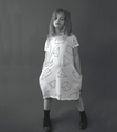 Nununu Geometric A Dress in White - <B>Last one size 8Y/9Y</B>