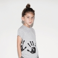 Nununu Hand Print Raw T-shirt In Heather Grey