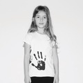Nununu Hand Print Raw T-shirt In White - <B>Sold Out</b>