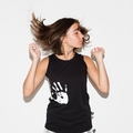 Nununu Hand Print Tank Top In Black -  <B>Last One Size 12/14Y</b>