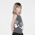Nununu Hand Print Tank Top In Charcoal - <B>Last One Size 8/9</b>