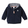 Petit Bateau Baby Boy Hooded Sweatshirt in Navy - <b>Last one sizes 3M & 36M</B>