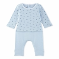 Petit Bateau Baby Boy Origami Printed Top Coverall in Blue -  <B>Last One Size 3m</b>
