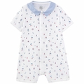 Petit Bateau Baby Boy Short Sleeve Sailor Printed Romper with Collar