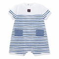 Petit Bateau Baby Boy Short Sleeve Striped Romper with Anchor Graphic