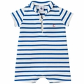 Petit Bateau Baby Boy Short Sleeve Striped Sailor Collar Romper in Blue White - <b>Last one size 3M</B>