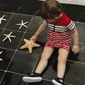 Petit Bateau Baby Boy Short Sleeve Striped Sailor Collar Romper in Red White - <B>Size 3M left</b>