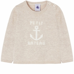 Petit Bateau Baby Boy Sweater with Anchor Graphic in Cream