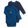 Petit Bateau Baby Boys 2 Pack Kimono Bodysuits Navy Medieval Blue - <b>Sold Out</B>