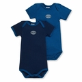 Petit Bateau Baby Boys 2 Pack Short Sleeve Bodysuits Navy Medieval Blue - <B>size 1m left</B>