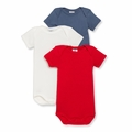 Petit Bateau Baby Boys 3 Pack Short Sleeve Bodysuits Red White Blue - <b>Last One Size 24m</B>