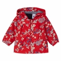 Petit Bateau Baby Girl Japanese Floral Rain Coat in Red