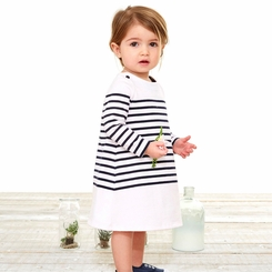 Petit Bateau Baby Girl Long Sleeve Iconic Striped Dress