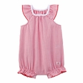 Petit Bateau Baby Girl Red Striped Bubble with Back Ruffles -  <B>Sold out</B>