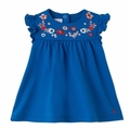 Petit Bateau Baby Girl Short Sleeve Dress with Embroidery Detail