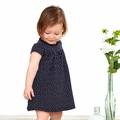 Petit Bateau Baby Girl Short Sleeve Polka Dot Bodysuit Dress in Navy