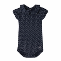 Petit Bateau Baby Girl Short Sleeve Polka Dot Bodysuit in Navy - <b>Sold Out</b>