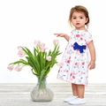 Petit Bateau Baby Girl Short Sleeve Rose Printed Dress with Bow