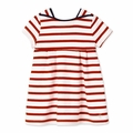 Petit Bateau Baby Girl Short Sleeve Striped Dress in Red White