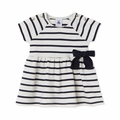 Petit Bateau Baby Girl Short Sleeve Striped Dress with Bow in Navy White