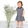 Petit Bateau Baby Girl Short Sleeve Striped Dress with Collar in Navy White - <B>Last One - size 3m</B>