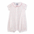 Petit Bateau Baby Girl Short Sleeve Tiny Flower Print Romper with Back Ruffles - <b>Sold Out</b>