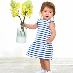 Petit Bateau Baby Girl Striped Short Sleeve Dress with Pockets in Blue White