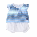 Petit Bateau Baby Girl Striped Short Sleeve Tee and Bloomers 2 Piece Set in White