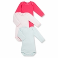 Petit Bateau Baby Girls 3 Pack Bodysuits Pink Light Blue - last one size 18M!