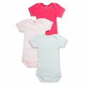 Petit Bateau Baby Girls 3 Pack Short Sleeve Bodysuits Pink Light Blue - <B>Last one sizes 1M & 24M</B>