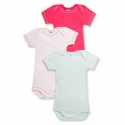 Petit Bateau Baby Girls 3 Pack Short Sleeve Bodysuits Pink Light Blue - <B>Last one size 24m</B>