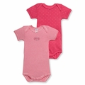 Petit Bateau Baby Girls Fuchsia Pink 2 Pack Short Sleeve Bodysuits