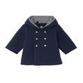 Petit Bateau Baby Quilted Hooded Jacket in Navy