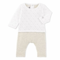 Petit Bateau Baby Unisex Bunny Printed Top Coverall in Grey - <b>Last One - Size 3m</b>