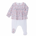 Petit Bateau Back Snap Footie with Floral Top - <B> Last one Size 1M left</B>