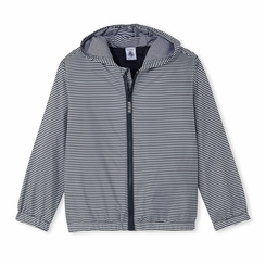 Petit Bateau Big Boy Pinstripe Nylon Jacket in Navy