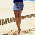 Petit Bateau Big Girl Navy Sailor Striped Shorts