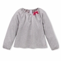 Petit Bateau Big Girls Dot Top with Bow in Gray