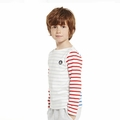 Petit Bateau Boy Long Sleeve Multi Striped Top in Grey Red Blue