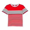 Petit Bateau Boy Short Sleeve Striped Tee in Navy Red White