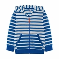 Petit Bateau Boy Stirped Hooded Zip Up Sweat Shirt in Teal White
