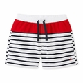 Petit Bateau Boy Striped Swim Shorts in Navy Red White
