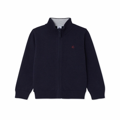 Petit Bateau Boy Zip Up Cardigan in Navy