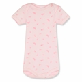 Petit Bateau Feather Print Short Sleeve Onesie in Vienne Pink