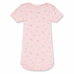 Petit Bateau Feather Print Short Sleeve Onesie in Vienne Pink -  <b>Size 24m left</B>