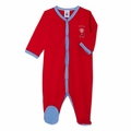 Petit Bateau Front Snap Footie With Graphic in Red