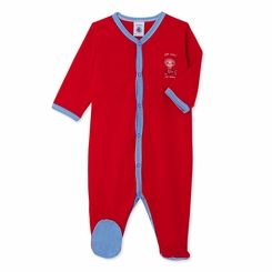 Petit Bateau Front Snap Footie With Graphic in Red <B> Last one Size 1m left</B>